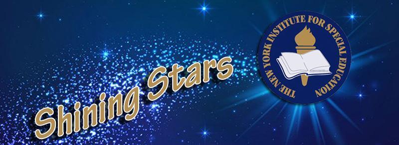 Logo of the shining stars program. NYI logo with a stars background