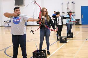 VMHS students learning archery for the Outdoor Adventures class.