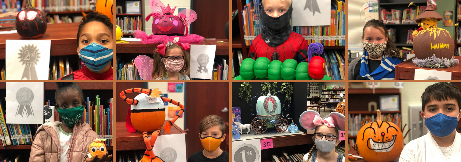8 photos of students and their pumpkins decorated with storybook inspiration