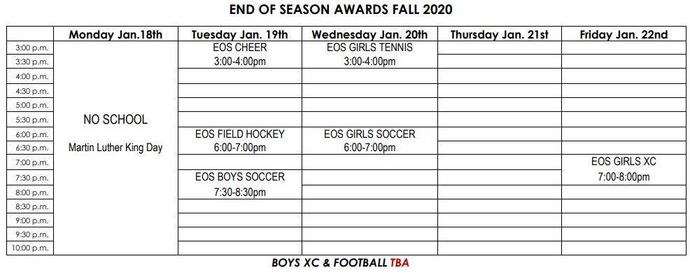 FALL 2020 AWARDS SCHEDULE
