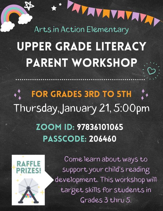 Upper Grade Literacy Parent Workshop/ Taller para padres de alfabetización de grado superior Thumbnail Image