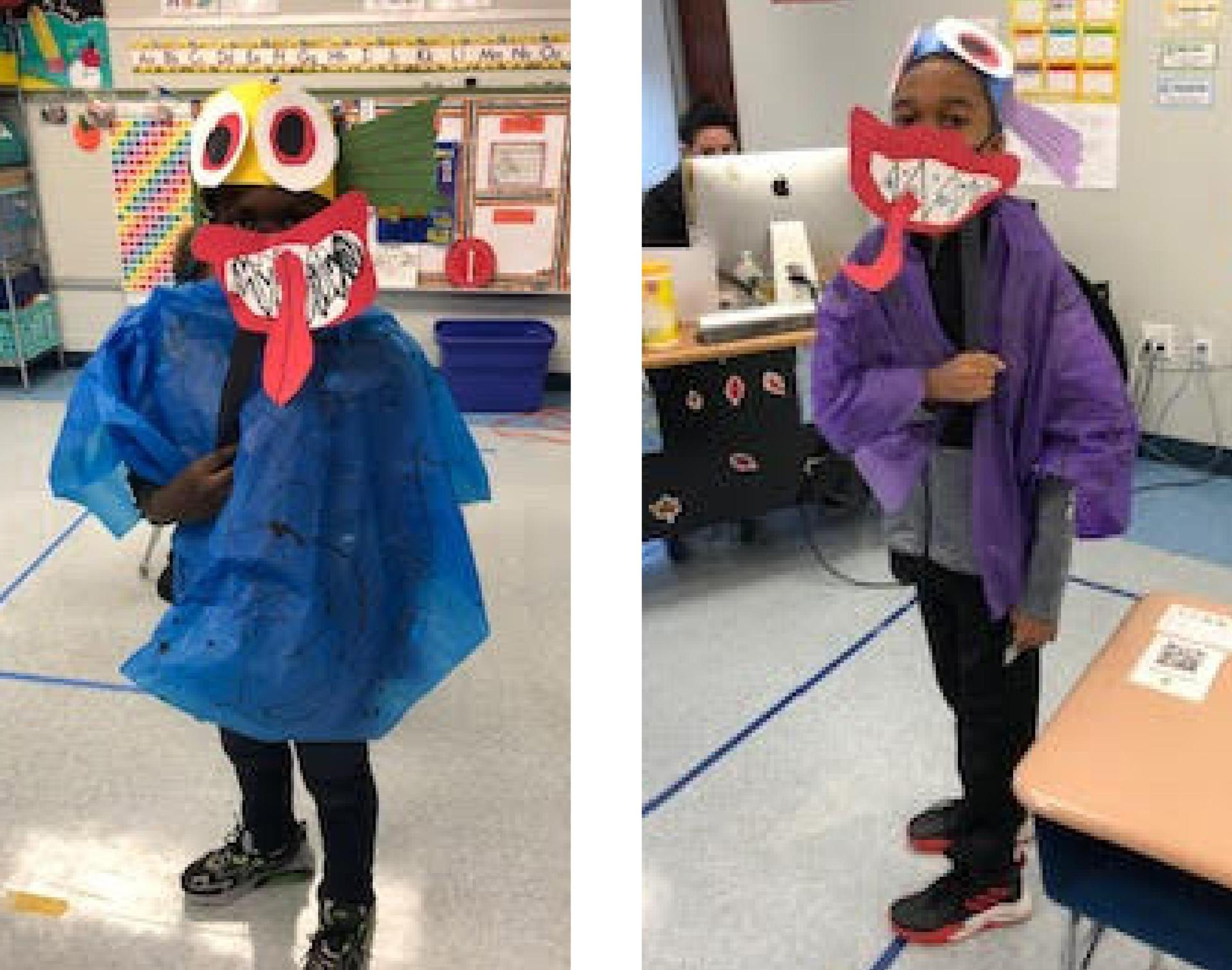 Two tile image, students dressed in costumes