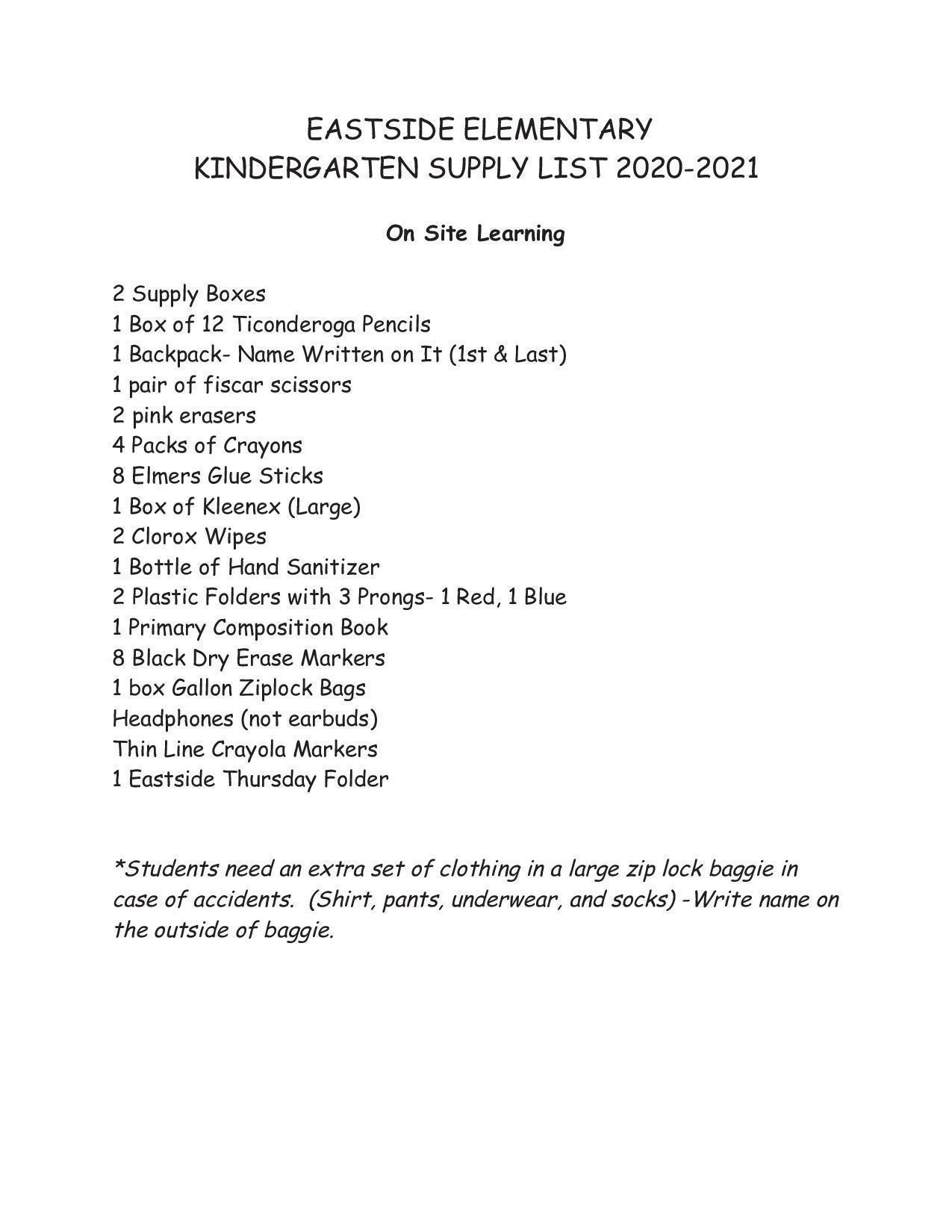 Kdg. Supply list
