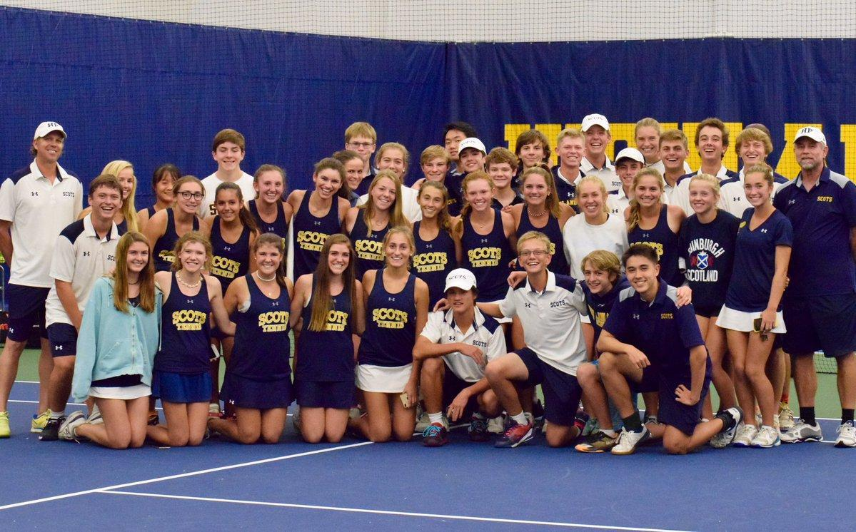 Scots tennis team in group photo in Seay Tennis Center