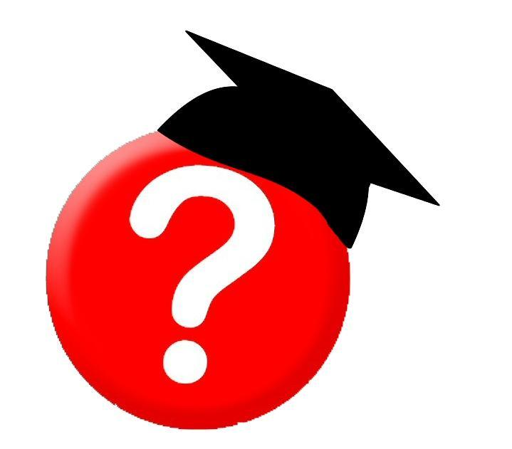 Question mark button with graduation cap