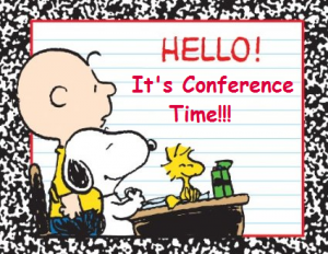 Peanuts characters Charlie Brown, Snoopy and Woodstock at Teacher Parent Conference