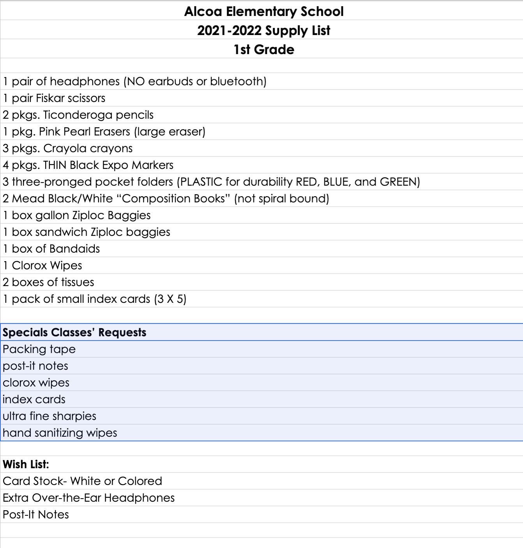 1st Grade 2021-22 Supply List