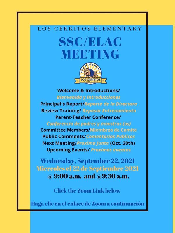 SSC/ELAC Meeting Wednesday, September 22, 2021/Junta de SSC/ELAC el miercoles 22 de septiembre 2021 Featured Photo