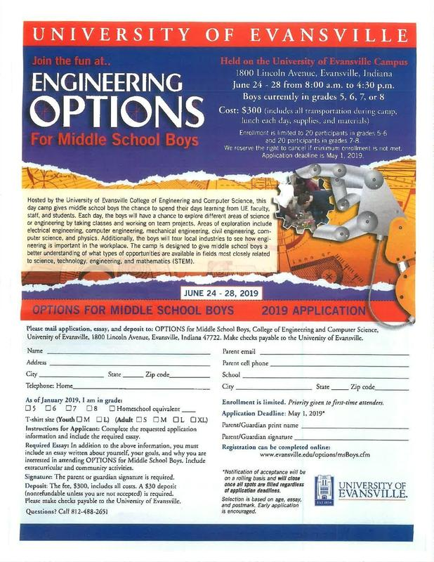 University of Evansville Engineering Options for Middle School Boys Thumbnail Image