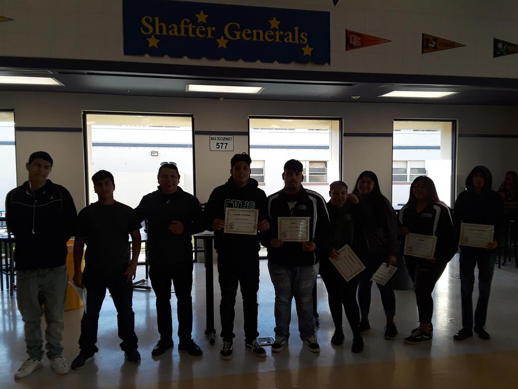 Mr. Monterubio's student's receive their awards