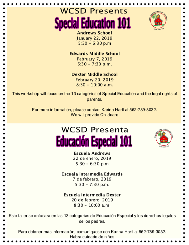 special education flyer for wcsd