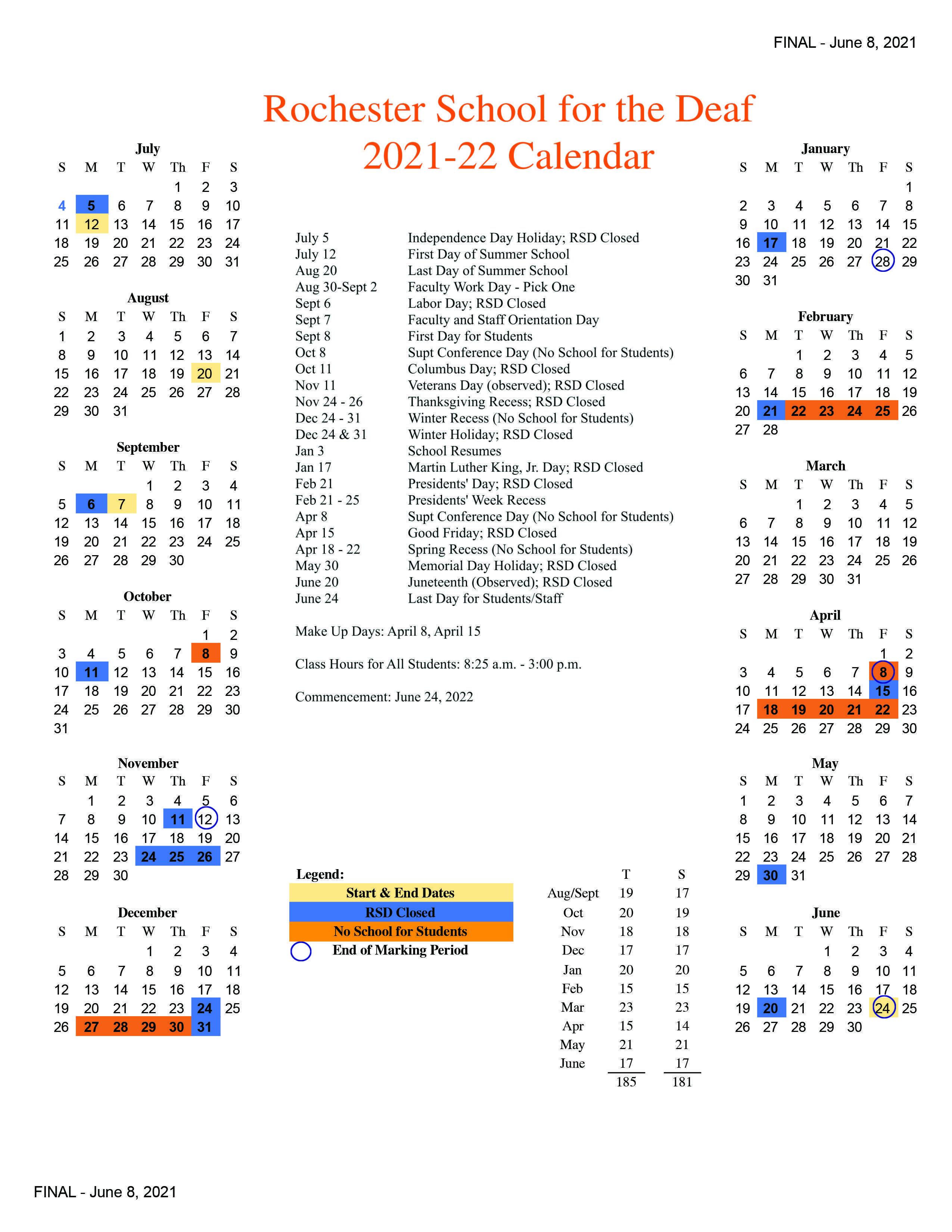 RSD 2021-2022 Academic Calendar