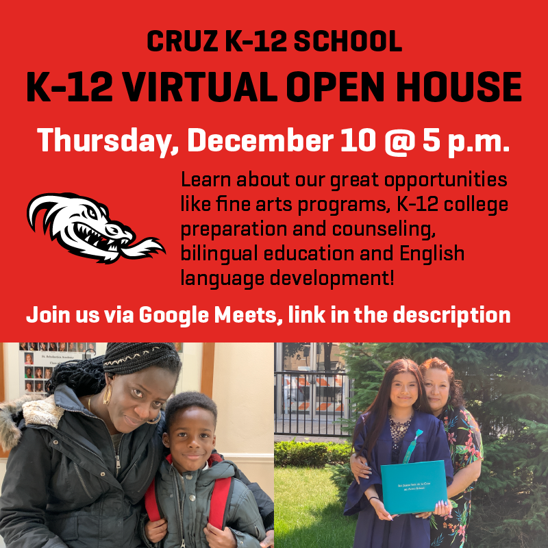 Cruz K-12 School Virtual Open House details on a red background with photos of students and their parents