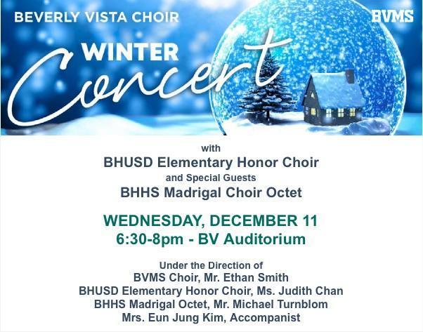 Beverly Vista Choir Winter Concert on Dec. 11 Featured Photo