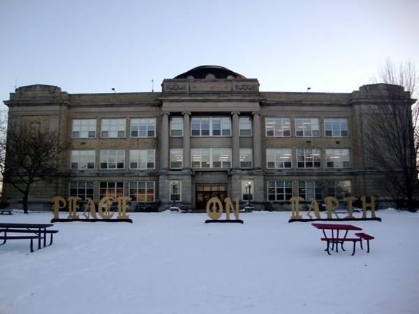 Shorewood High School in the Snow
