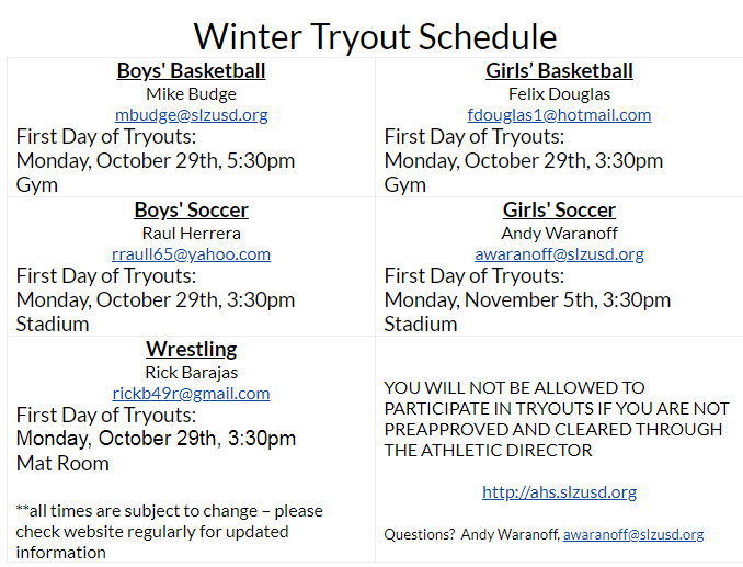 Winter Sports Tryout Schedule Featured Photo
