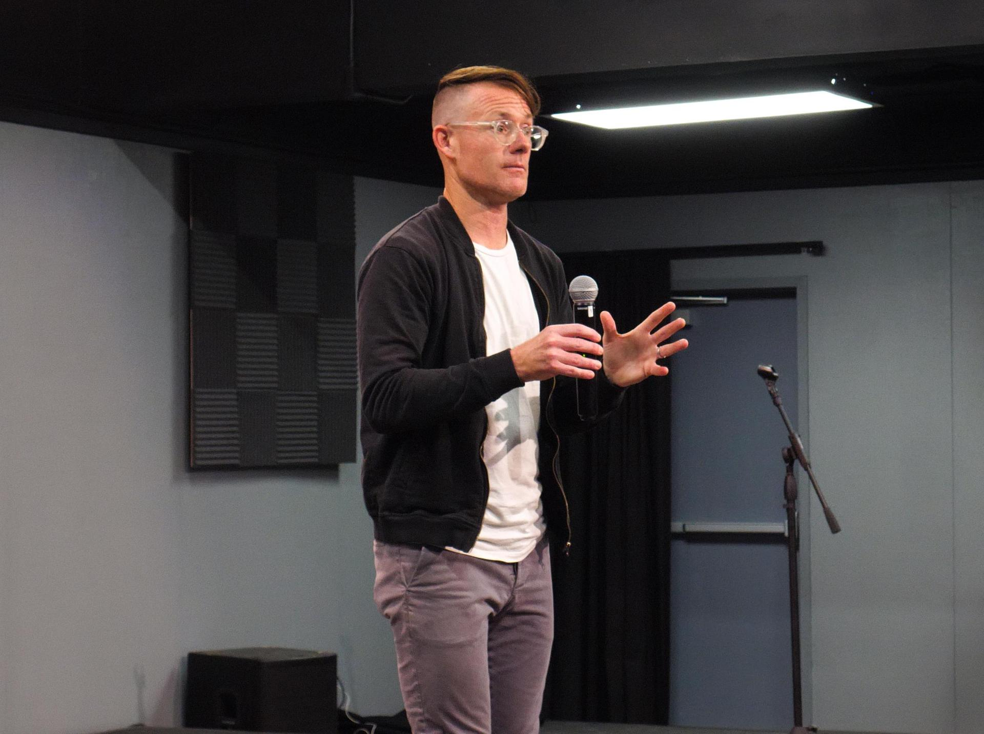Jonathan Mooney presenting to parents