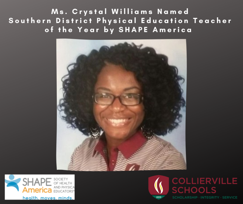 Coach Crystal Williams Named Southern District Physical Education Teacher of the Year