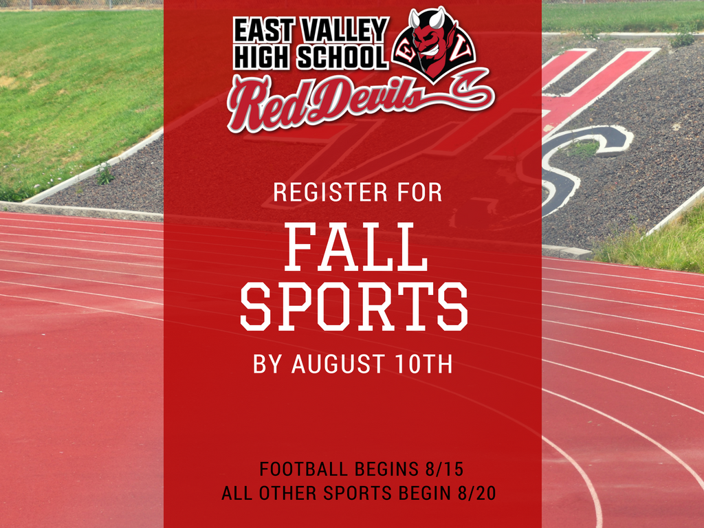 Register for Fall Sports by August 10, 2018.