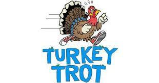 picture of a turkey with the writing turkey trot on it