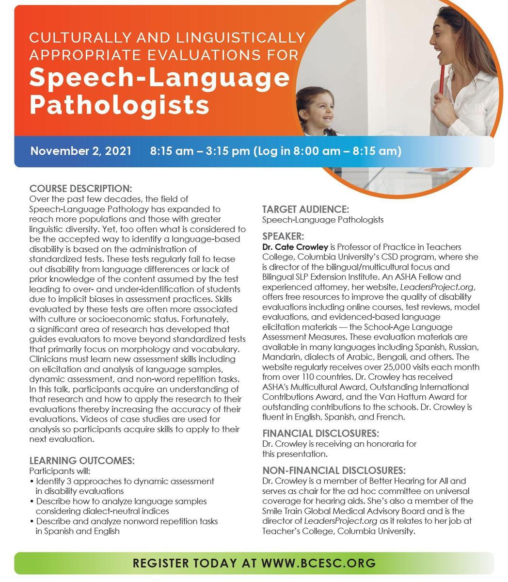 Culturally and Linguistically Appropriate Evaluations for Speech-Language Pathologists Flyer