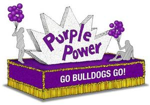 Purple and gold Homecoming float that says go bulldogs go