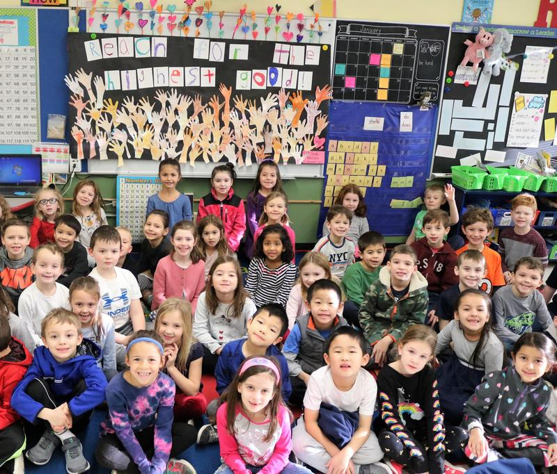 """First graders at Tamaques School in Westfield honored Dr. Martin Luther King, Jr by reciting a portion of his """"I Have a Dream"""" speech and discussing the meaning of Dr. King's legendary oration at the March on Washington in August 1963.  """"It's like living your inside out,"""" said one youngster when asked about a part of the speech where the civil rights leader said """"I have a dream that my four little children will one day live in a nation where they will not be judged by the color of their skin, but by the content of their character.""""  Led by the 1st grade team of Linda D'Onofrio, Mary Montes, and Jenna Utman, the students also created a mural poster entitled """"Reach for the Highest Good."""""""