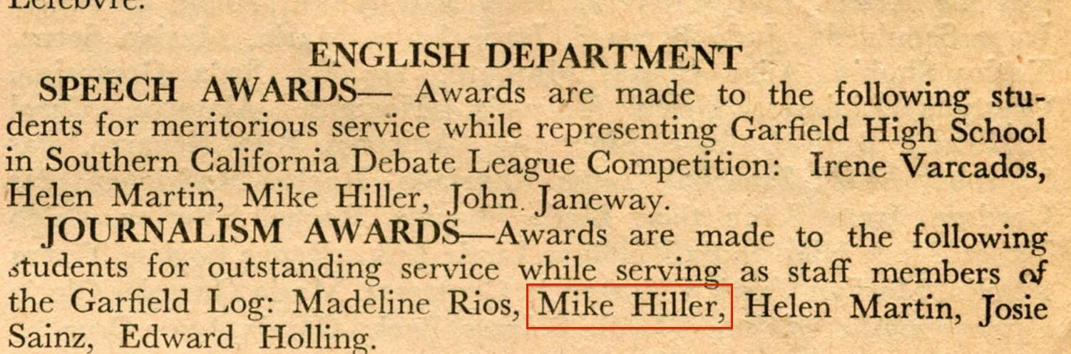 Mike Hiller receives speech award
