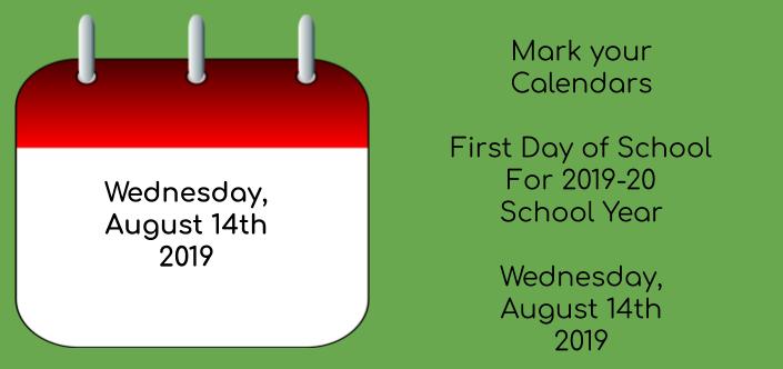 2019-20 Official School Calendar Thumbnail Image