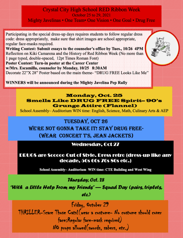 Red Ribbon Week at CCHS: October 25- 29 Featured Photo