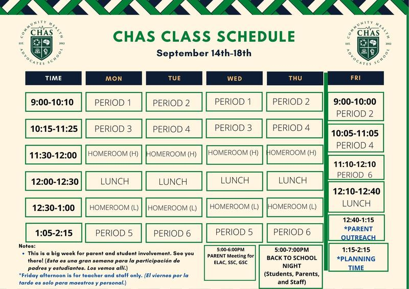 CHAS Class Schedule September 14th - 18th Featured Photo