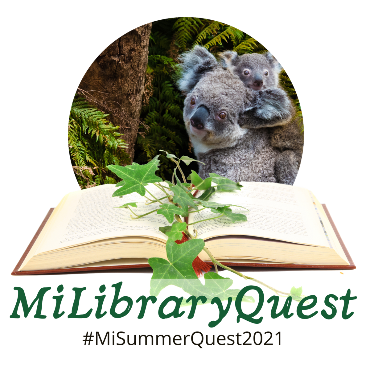 MiLibraryQuest logo with koalas, an open book, and the text #MiLbraryQuest2021