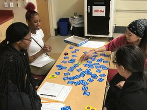 Students playing memory game
