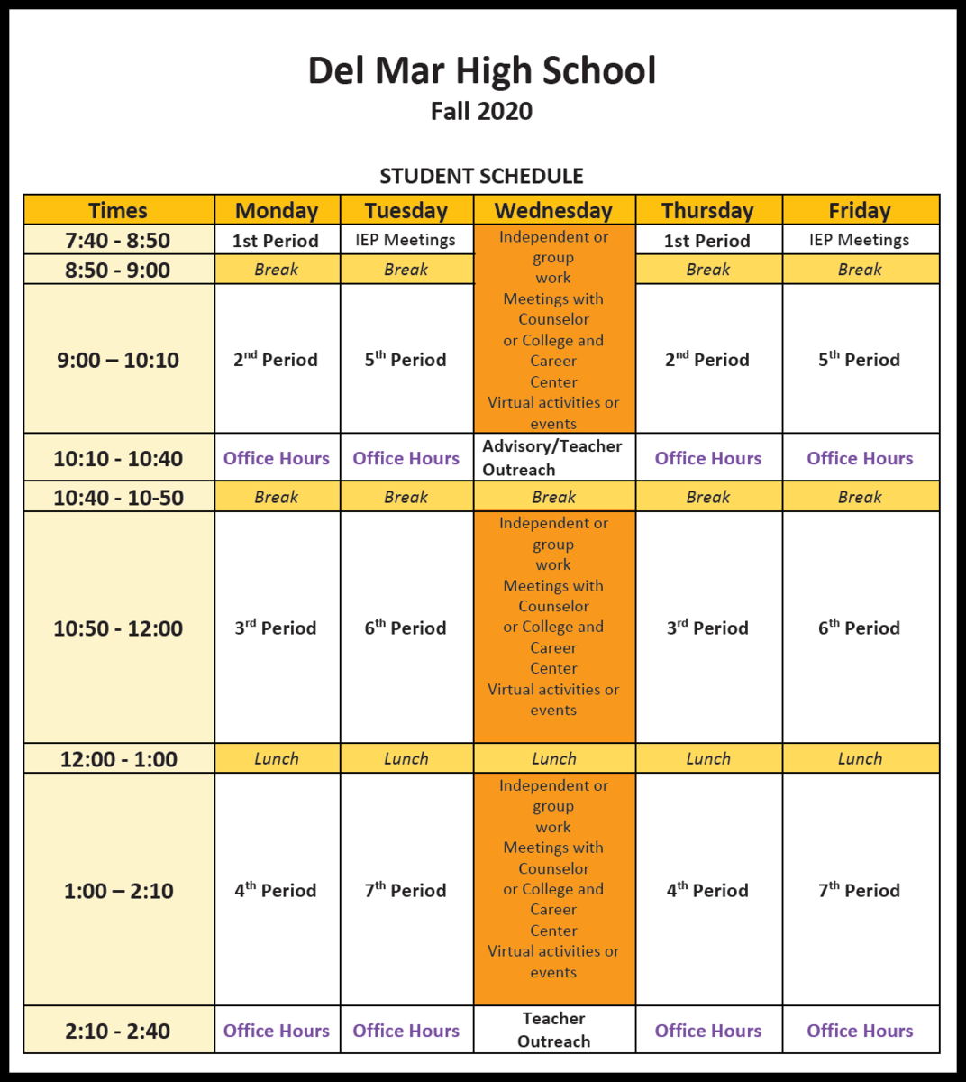 del mar distance learning schedule for fall 2020