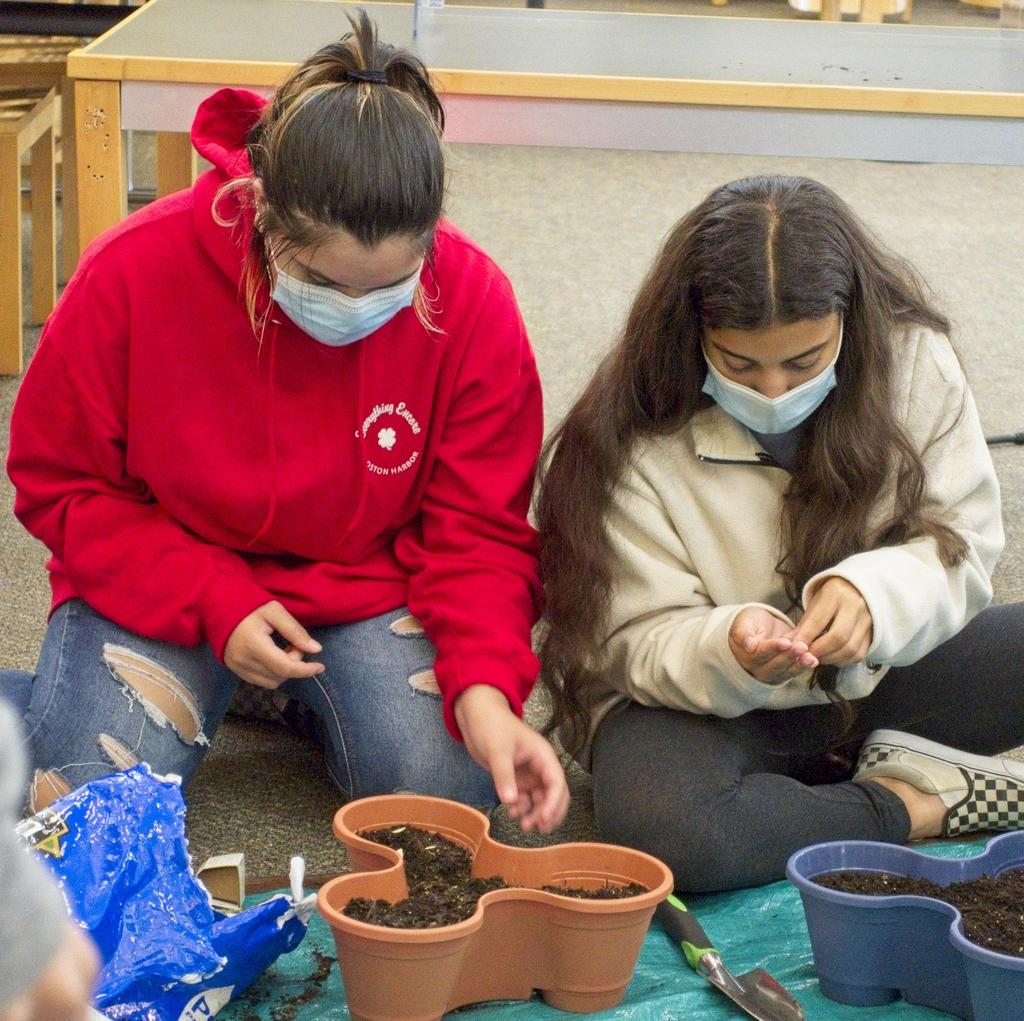 Two students work with small planters filled with soil