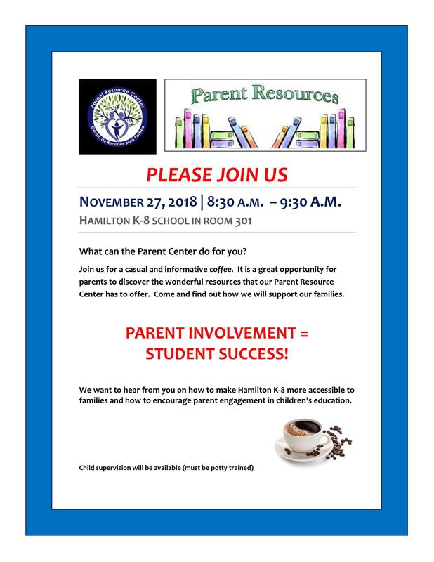 Coffee with Parent Resource Center flyer
