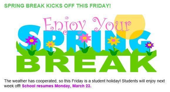 Spring Break Starts March 13th Featured Photo