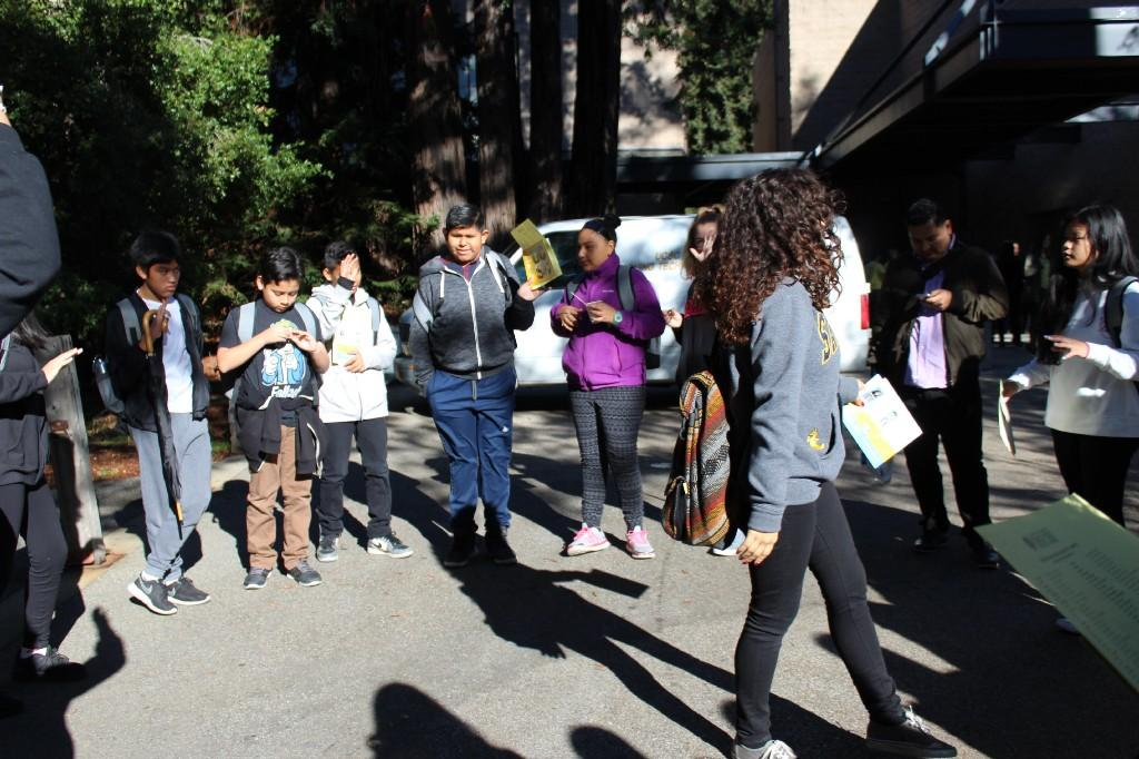 students near trees and buildings at UCSC