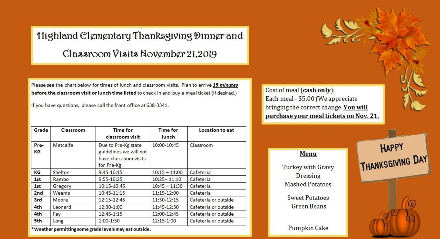 Thanksgiving Family Meal Information
