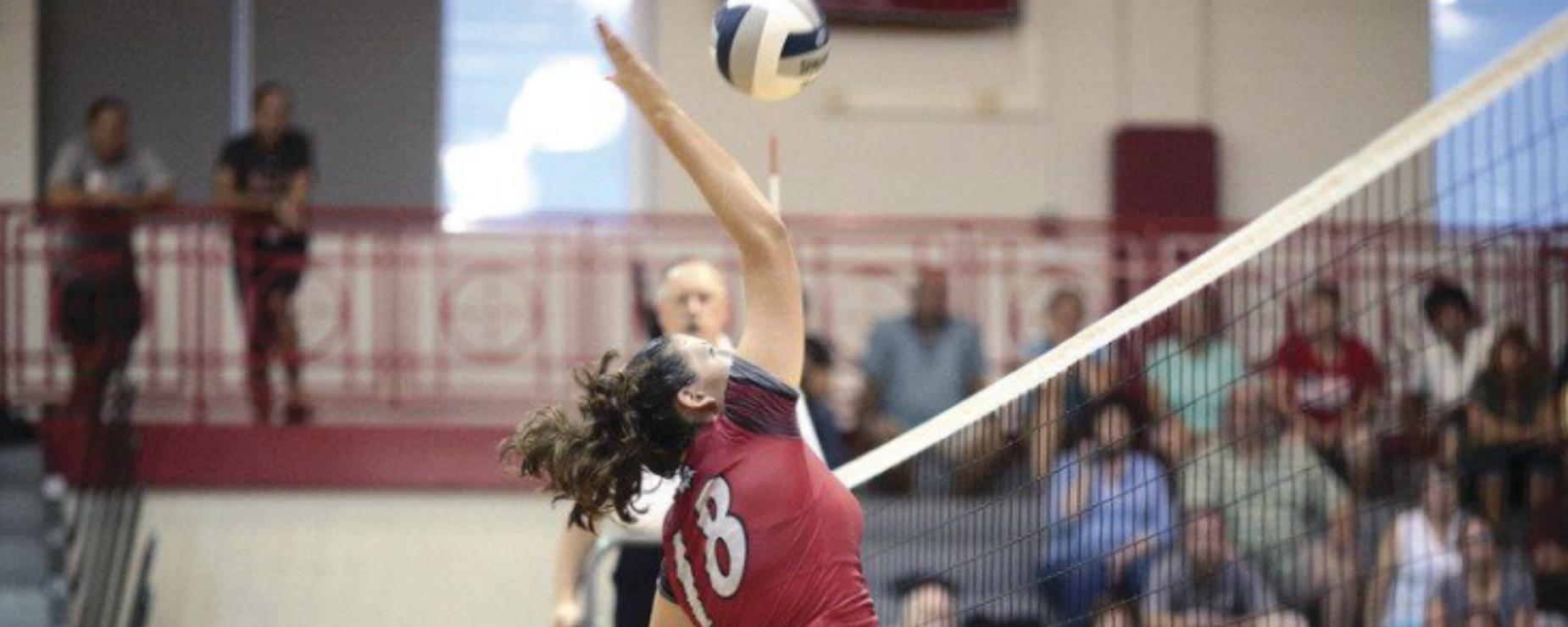 A volleyball player jumps to spike the ball in a match