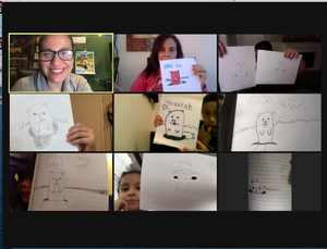 Zoom class showing groundhog drawings