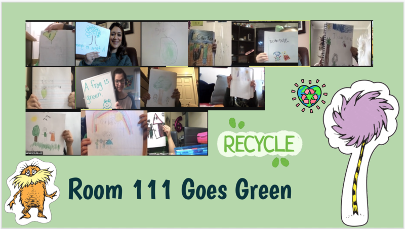 Zoom class showing green drawings