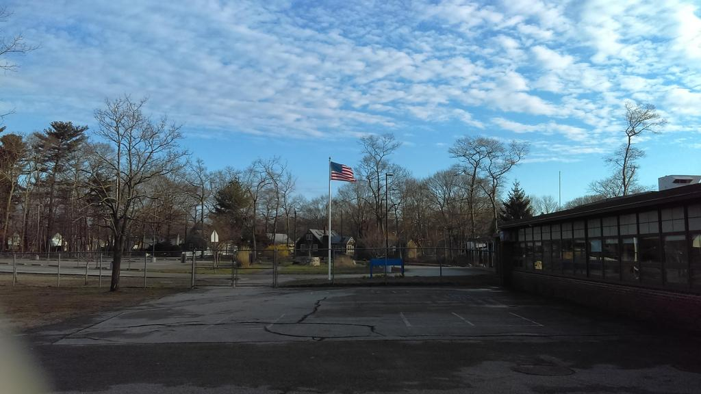Flag pole view from playground