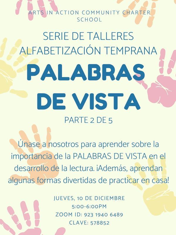 Early Literacy Workshop Series: Sight Words/ Serie Taller de alfabetización temprana: Palabras de Vista Thumbnail Image