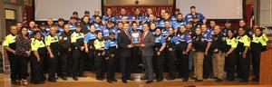 Edinburg CISD Superintendent Dr. René Gutiérrez (center left) and ECISD Police Chief Ricardo Perez, Jr. (center right) proudly display the 2018 Security 500 Rankings award with members of the Edinburg CISD Police Department.