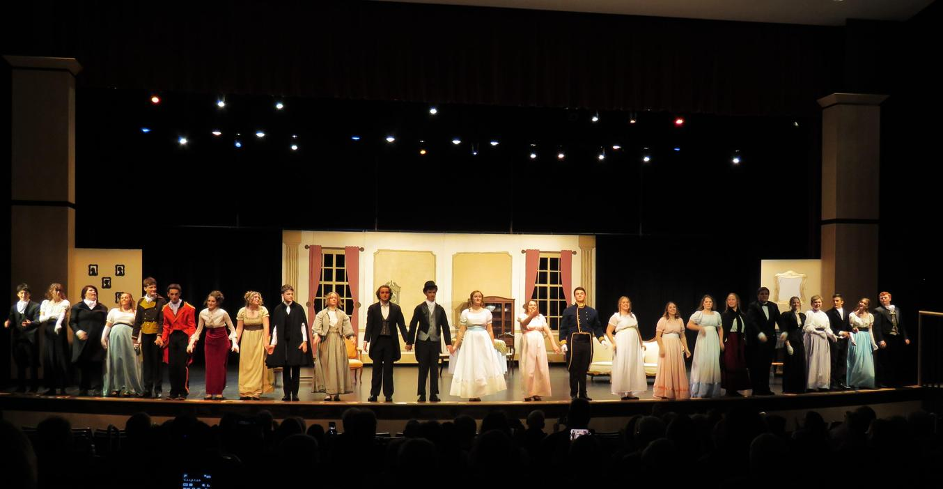 TKHS cast members take a bow after a fall play performance.
