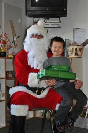 a boy and santa