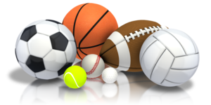 clipart photo of several sports balls
