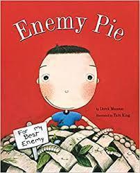 cartoon boy holding a pie
