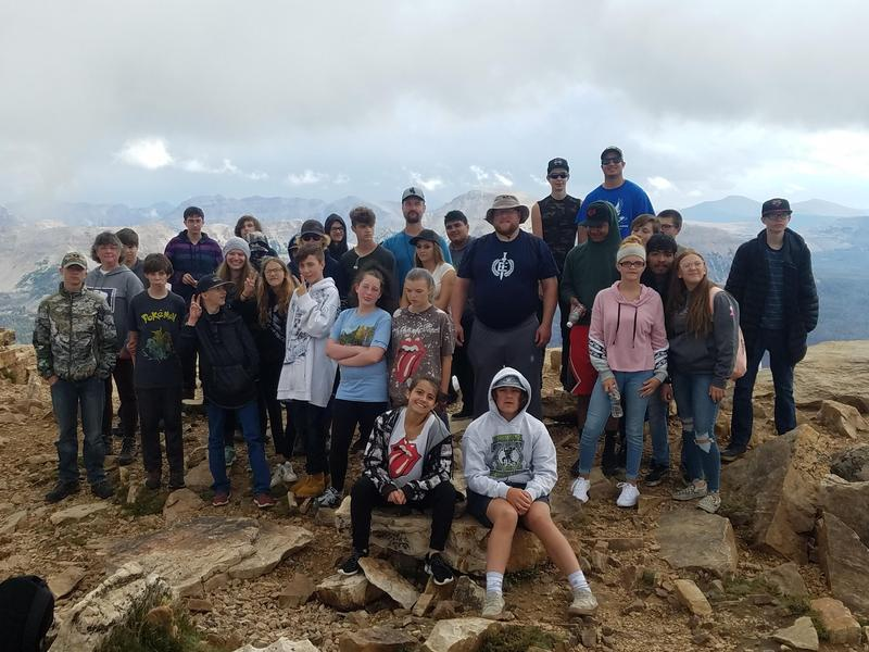 Picture of students on top of Bald Mt.